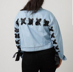 Lane Bryant cropped lace up denim coat